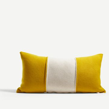 Turmeric & White Striped Blok Cushion
