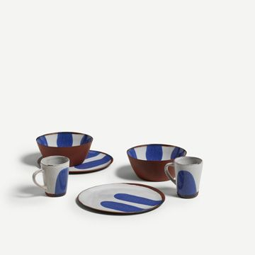 Terracotta Breakfast Set for Two (Cobalt)