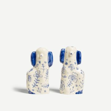 Blue Flowered Staffordshire Dogs (Large) Alex Sickling