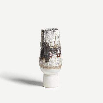 White Pedestal Vessel with Black Englobe III