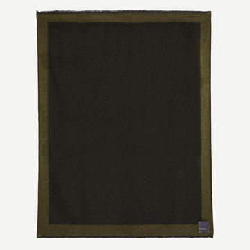 Arran Border Cashmere Throw in Army