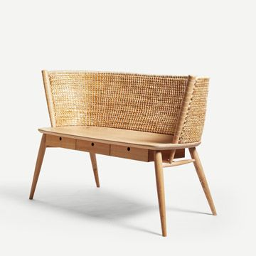 Brodgar Straw Back Bench (With Drawers) by Gareth Neal and Kevin Gauld