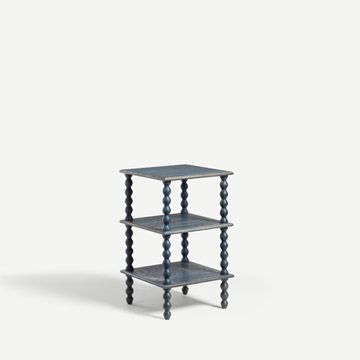 Bobbin Side Table in Oak (Blue)
