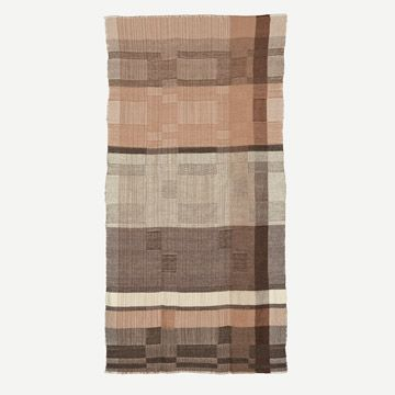 Handwoven Alpaca Throw Grey, Brown & Faded Pink
