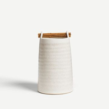 Chalk White Willow Weft Vessel XIV