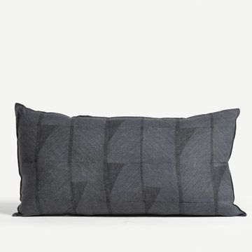 Feather Line Cushion in Blue & Black