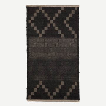 Handwoven Hemp & Black Alpaca Throw