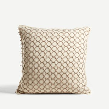 St Ishmael Square Cushion in Cream