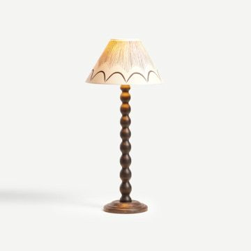 Bobbin Table Lamp in Ebonised Oak with Shade in Black