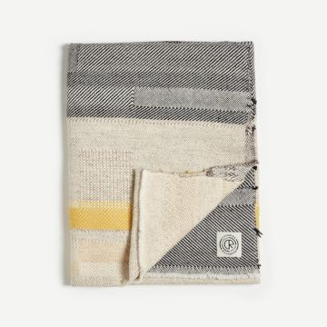 'Yellow Stripe' Handwoven Alpaca Throw