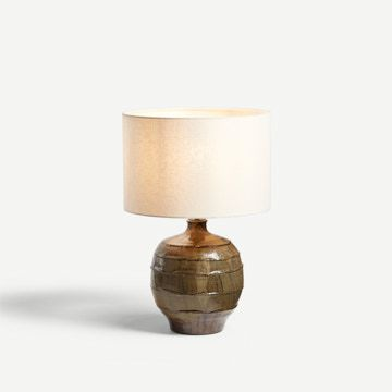 Faceted Table Lamp in Ash Green (Wide)