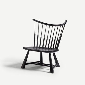 Spindle Back Lounge Chair in Pitch Black by Bibbings & Hensby