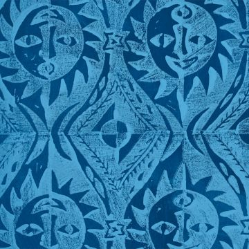 Hand Printed Wallpaper Roll (Suns) (Cornflower Blue) by Peggy Angus
