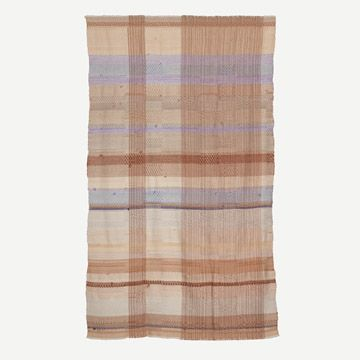 Handwoven Alpaca Throw Pale Lilac and Rusty Orange