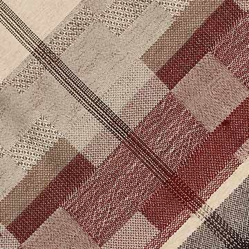 Handwoven Alpaca Throw Brick Red, White, Brown and Grey