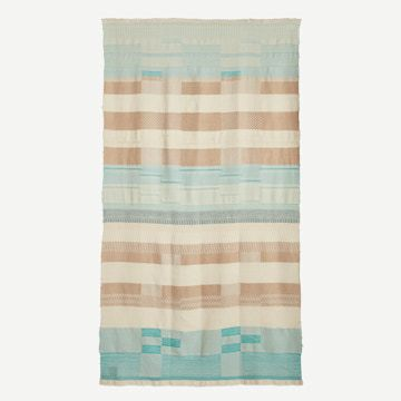 Handwoven Alpaca Throw in Turquoise & Beige by Catarina Riccabona