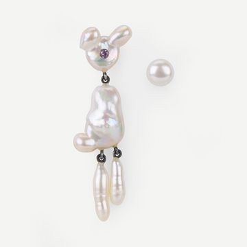Bunny Earring with Pearl Stud I