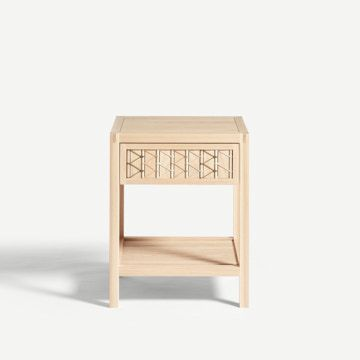 Stitched Side Table in Ash & Natural Cord