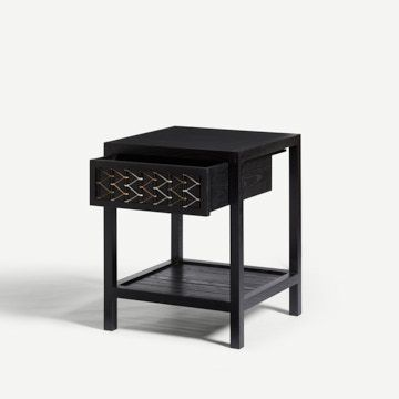 Stitched Side Table in Blackened Ash & Natural Cord