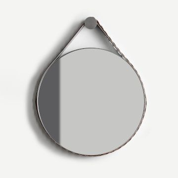 Braid Strap Mirror (Dove Grey, Cream & Platinum, with Pewtered Steel)