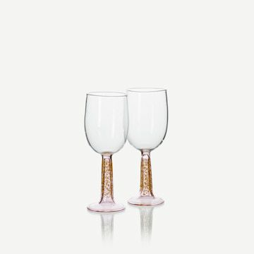 Romer Wine Glasses in Pink & Opaque Yellow (Pair)