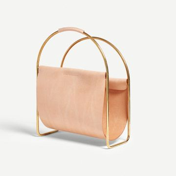 Leather Magazine Rack (Tan)