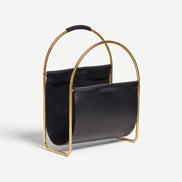 Leather Magazine Rack (Black)