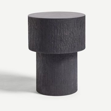 Pilotis Side Table (Carved) (Coal)