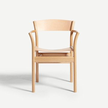 Natural Oak Oxbow Armchair in Nude
