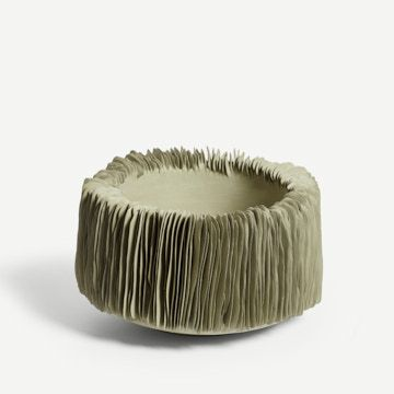 Green Wide Textured Bowl I