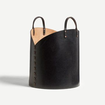 Black Leather Log Basket
