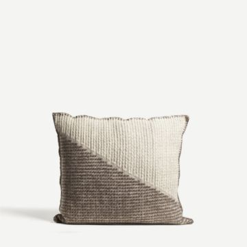 Square Brutrach Wool Cushion (Brown & White) by The New Craftsmen
