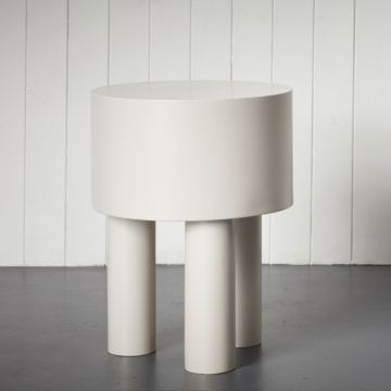 Pilotis Side Table (3 Legs) (White) by Malgorzata Bany
