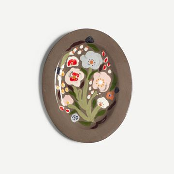 Charcoal Garden Posey Oval Platter (Large)