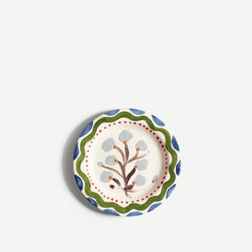 Grey Flower Round Plate (Small)