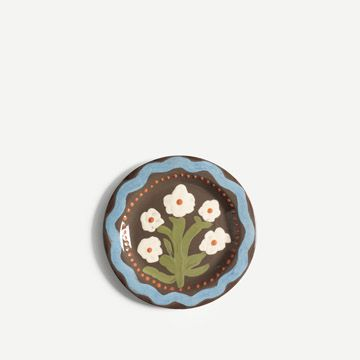 White Flower Round Plate (Small)