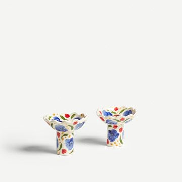 White and Cobalt Flora Candlestick Pair