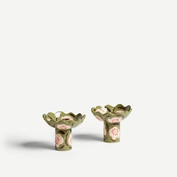Green and Blush Pink Flora Candlestick Pair