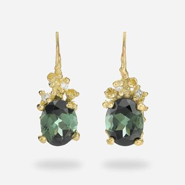 Green Tourmaline and Diamond Drops with Barnacles