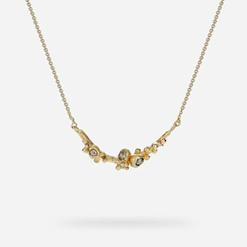 Champagne Diamond Cluster Bar Necklace