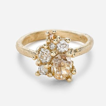 Champagne Diamond Radiant Cluster Ring