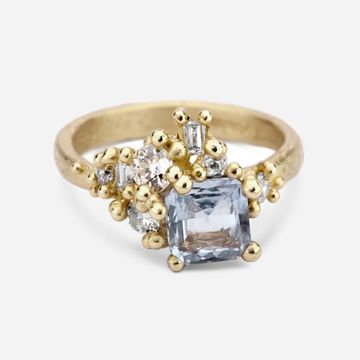 Square Sapphire and Diamond Sweeping Cluster Ring