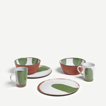 Terracotta Breakfast Set for Two (Dark Green)