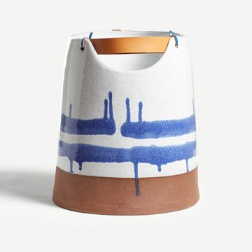 Cobalt Large Vessel with Leather Handle I