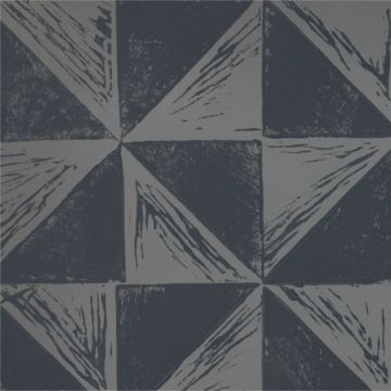 Hand Printed Wallpaper Roll (Windmill) (Slate Grey) by Peggy Angus