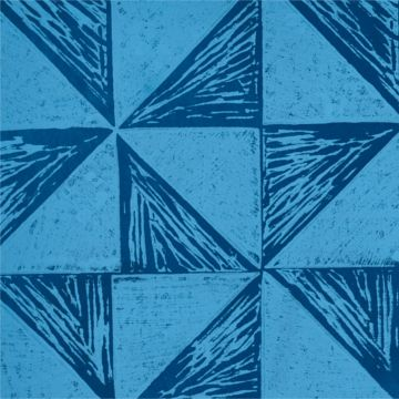 Hand Printed Wallpaper Roll (Windmill) (Cornflower Blue) by Peggy Angus