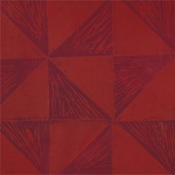 Hand Printed Wallpaper Roll (Windmill) (Garnet Red) by Peggy Angus