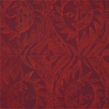 Hand Printed Wallpaper Roll (Suns) (Garnet Red) by Peggy Angus Wallpaper