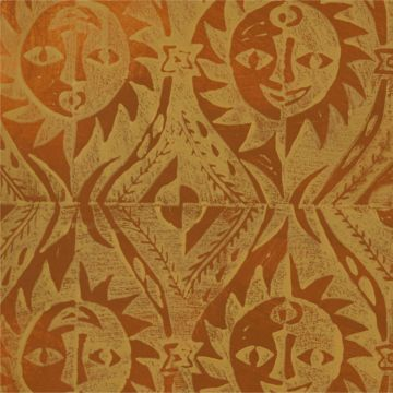 Hand Printed Wallpaper Roll (Suns) (Topaz Yellow) by Peggy Angus
