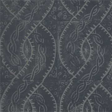 Hand Printed Wallpaper Roll (Twist) (Slate Grey) by Peggy Angus Wallpaper